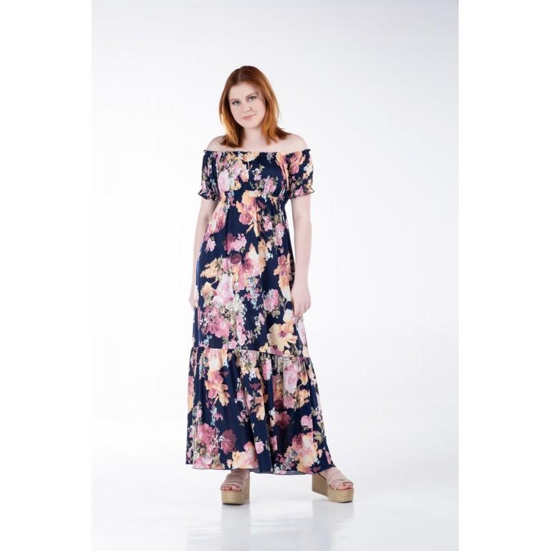 Οικονομικα Βραδινα Φορεματα - Φορεματα xxl - Φορεματα Φορεματα - Fuego Fashion - Φόρεμα Φλοράλ με Λάστιχο Φορέματα xxl