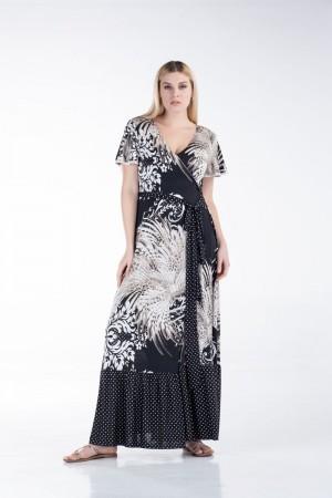 Φόρεμα Κρουαζέ Εμπριμέ  με Πουά
