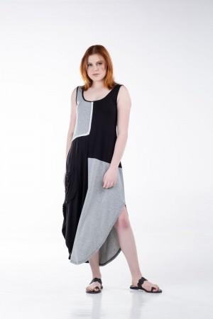 Φόρεμα Δίχρωμο Αμάνικο Μακρύ
