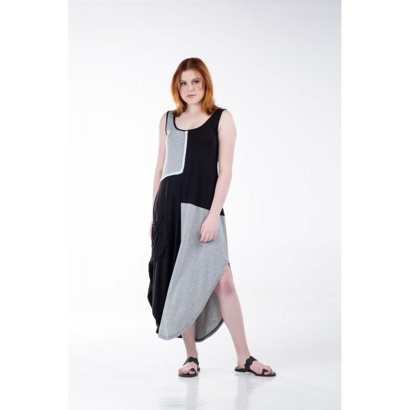 Οικονομικα Βραδινα Φορεματα - Φορεματα xxl - Φορεματα Φορεματα - Fuego Fashion - Φόρεμα Δίχρωμο Αμάνικο Μακρύ Φορέματα xxl