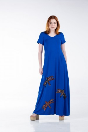 Φόρεμα Μακρύ με Μοτίφ και Παγιέτα