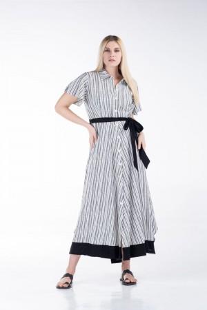 Φόρεμα Ριγέ Λινό