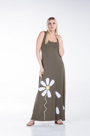 Φόρεμα Αμάνικο με Μοτίφ Λουλούδι
