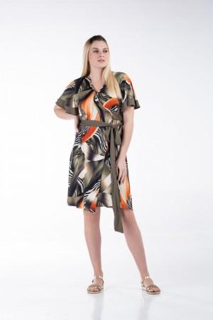 Φόρεμα Κοντό Κρουαζέ  με Μονόχρωμες Φάσες
