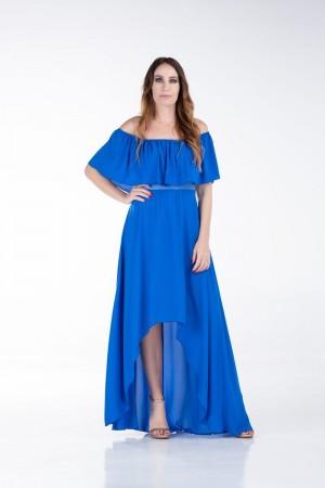 Φόρεμα με Βολάν στο Ντεκολτέ