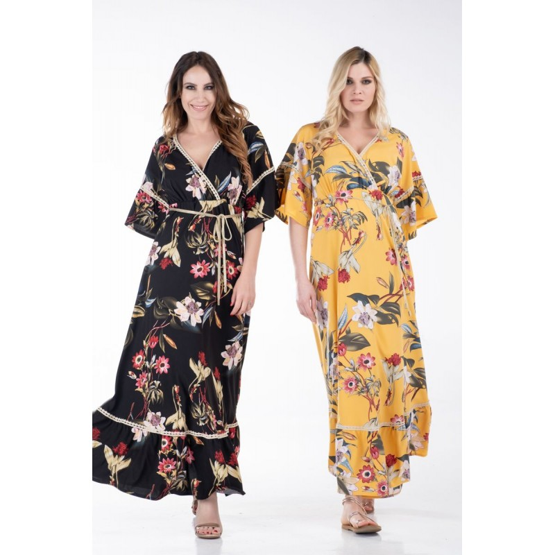 Φόρεμα Κρουαζέ Εμπριμέ και Δαντέλα Φορέματα xxl