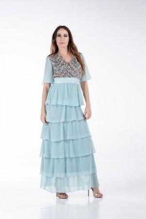 Φόρεμα Κρουαζέ με Βολάν και Παγιέτα