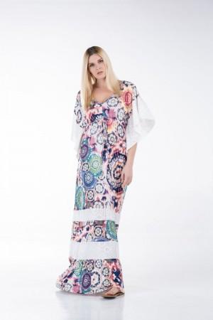 Φόρεμα Μακρύ με Φάσες Κιπούρ