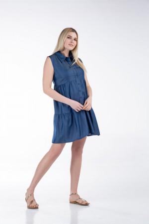 Φόρεμα Αμάνικο Τζήν Βολάν