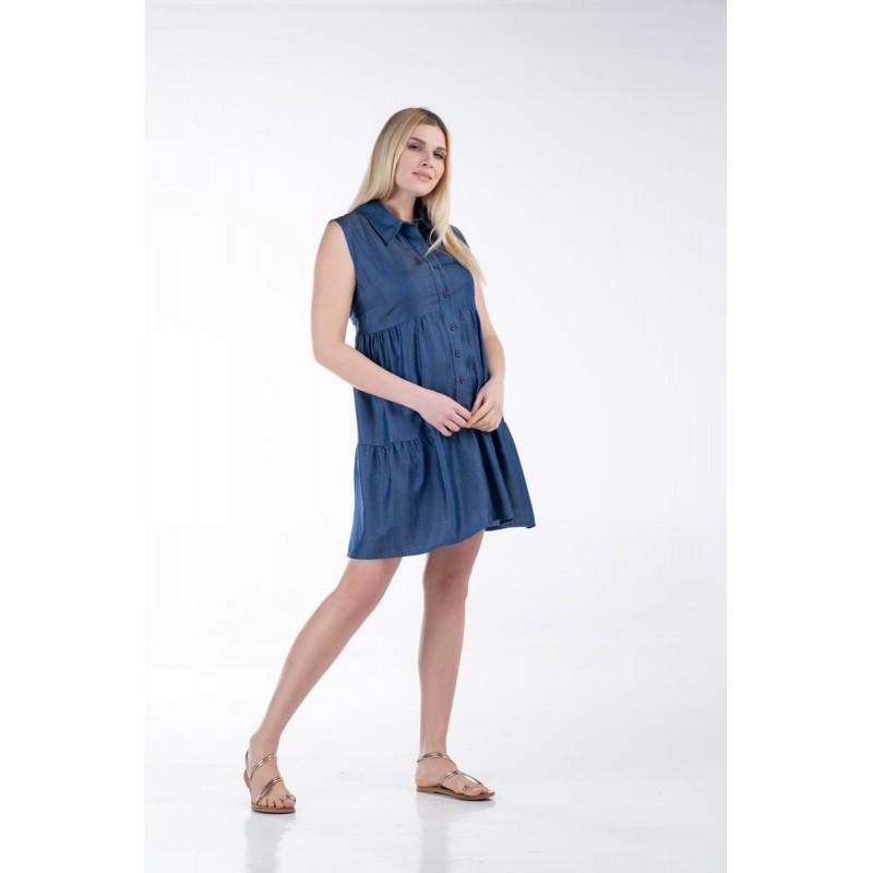 Φόρεμα Αμάνικο Τζήν Βολάν Φορέματα xxl