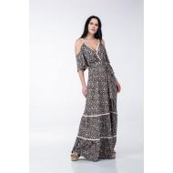 Φόρεμα Κρουαζέ με Βολάν και Τρέσες