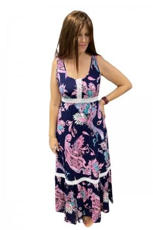 Φόρεμα Μακρύ με Τρέσα και Βολάν