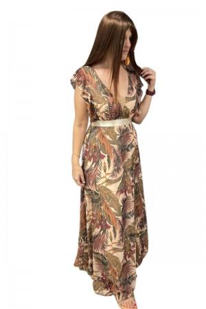 Φόρεμα Εμπριμέ με Βολάν στους Ώμους