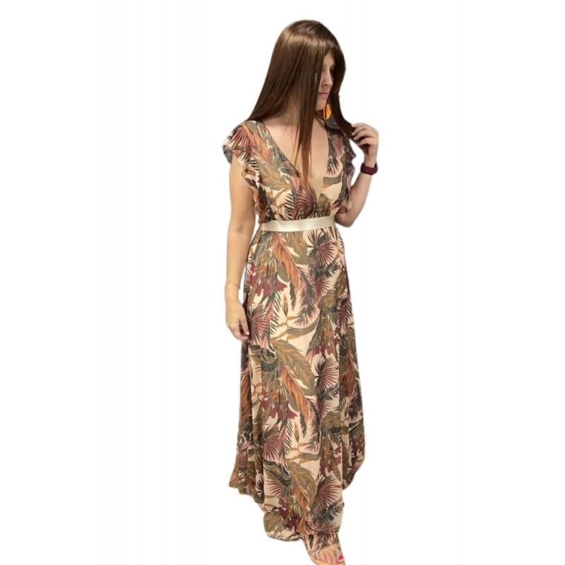 Οικονομικα Βραδινα Φορεματα - Φόρεμα Εμπριμέ με Βολάν στους Ώμους Φορέματα xxl