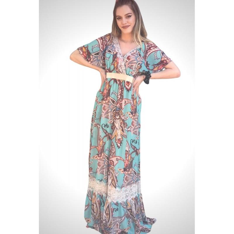 Φόρεμα Μουσελίνα Εμπριμέ με Δαντέλα Φορέματα xxl