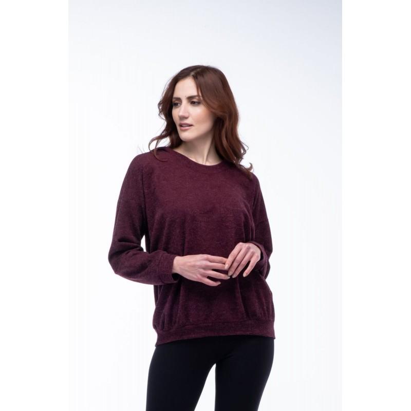 Μοντερνα plus size ρουχα - Μπλουζες xxl - Μπλουζες - Fuego Fashion - Μπλούζα με Μπάσκα και Κουκούλα Μπλούζες xxl