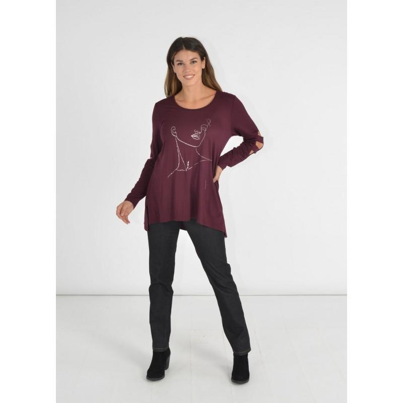 Μοντερνα plus size ρουχα - Μπλουζες xxl - Μπλουζες - Fuego Fashion - Μπλούζα με Ανοίγματα Μπλούζες xxl