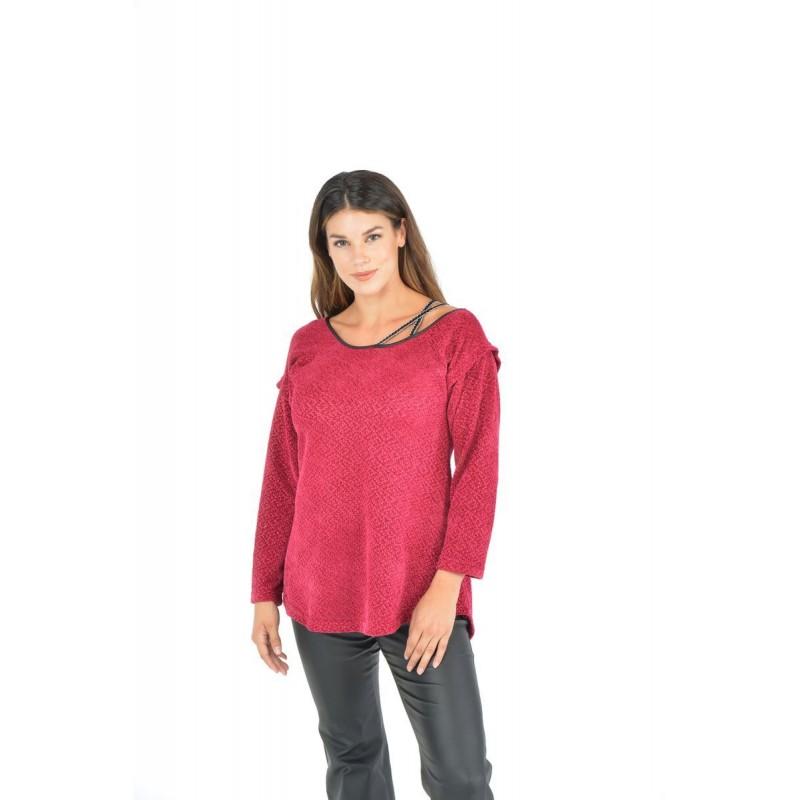 Μοντερνα plus size ρουχα - Μπλουζες xxl - Μπλουζες - Fuego Fashion - Μπλούζα Σενίλ Μπλούζες xxl