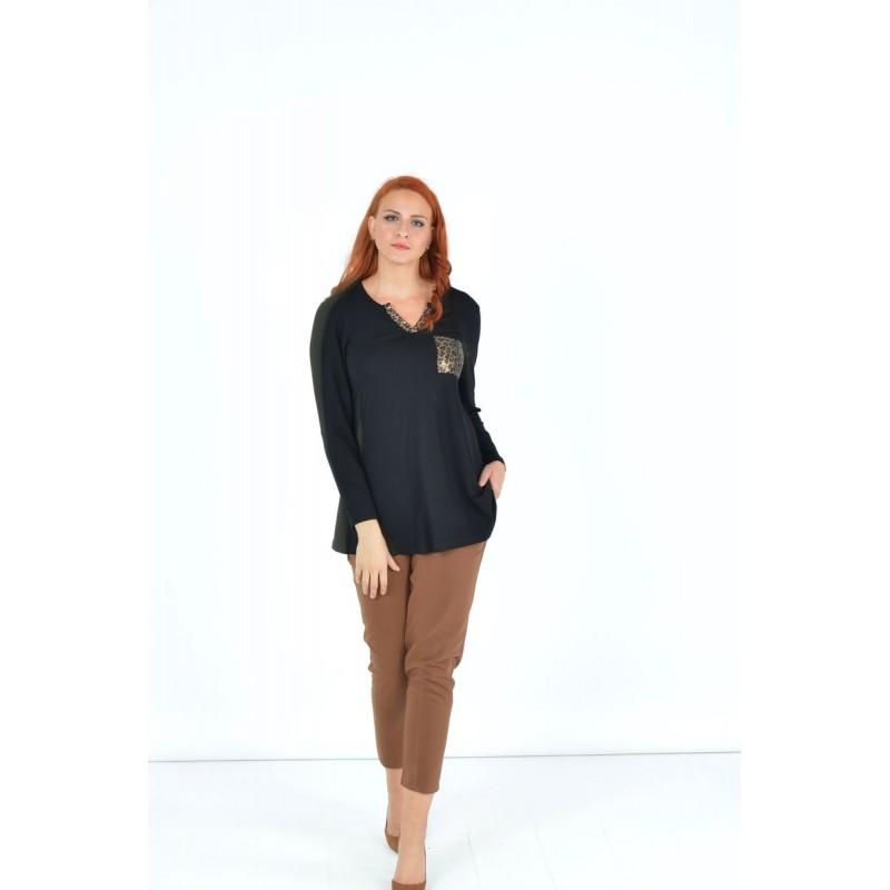Μοντερνα plus size ρουχα - Μπλουζες xxl - Μπλουζες - Fuego Fashion - Μπλούζα με Λεπτομέρειες Άνιμαλ  Μπλούζες xxl