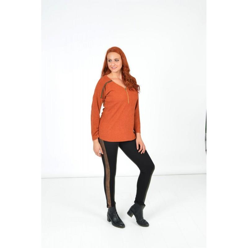 Μοντερνα plus size ρουχα - Μπλουζες xxl - Μπλουζες - Fuego Fashion - Μπλούζα Πλεκτή με Φερμουάρ και Τρέσα Μπλούζες xxl