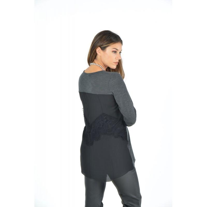 Μοντερνα plus size ρουχα - Μπλουζες xxl - Μπλουζες - Fuego Fashion - Μπλούζα Πλεκτή με Μουσελίνα στην Πλάτη   Μπλούζες xxl