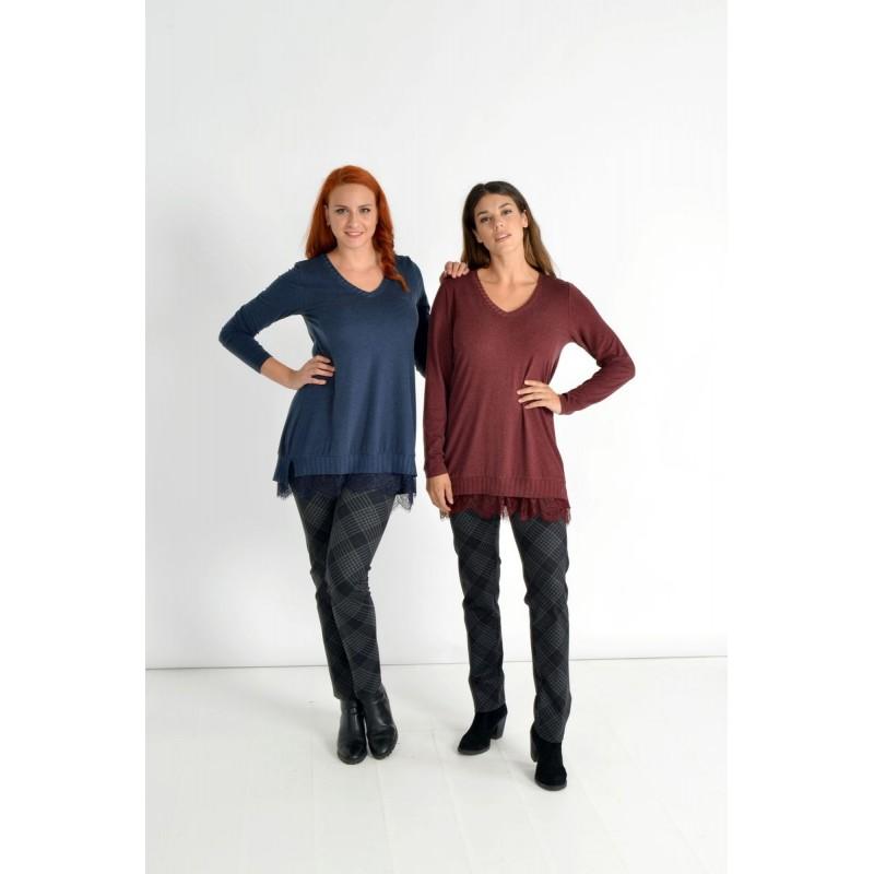 Μοντερνα plus size ρουχα - Μπλουζες xxl - Μπλουζες - Fuego Fashion - Μπλούζα με Δαντέλα στο Τελείωμα Μεγάλα Μεγέθη