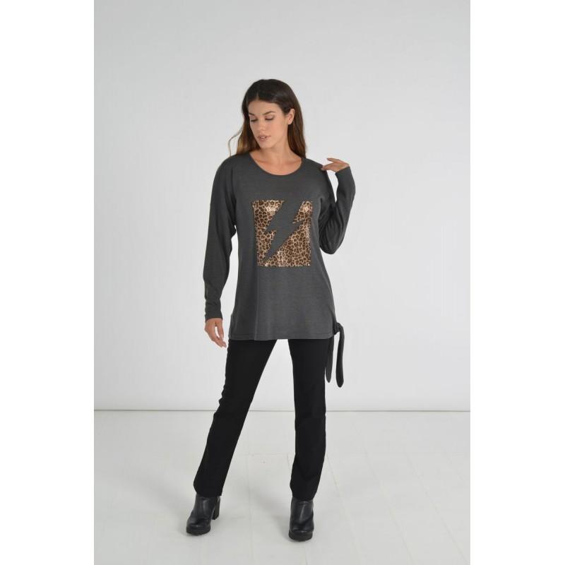 Μοντερνα plus size ρουχα - Μπλουζες xxl - Μπλουζες - Fuego Fashion - Μπλούζα με Απλικέ Κέραυνο Μπλούζες xxl