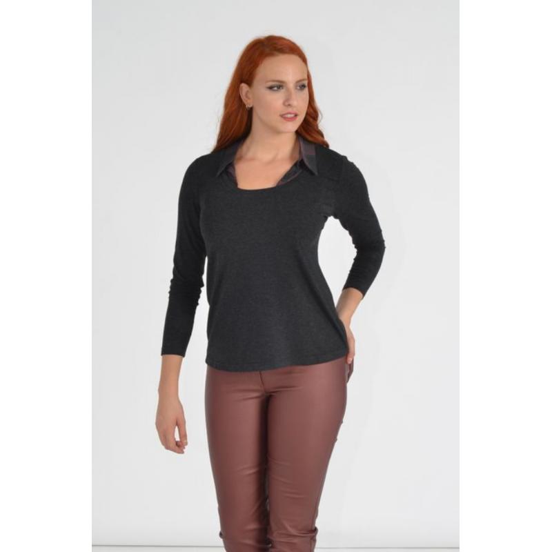 Μπλούζα με Γιακά Καρό Μπλούζες xxl