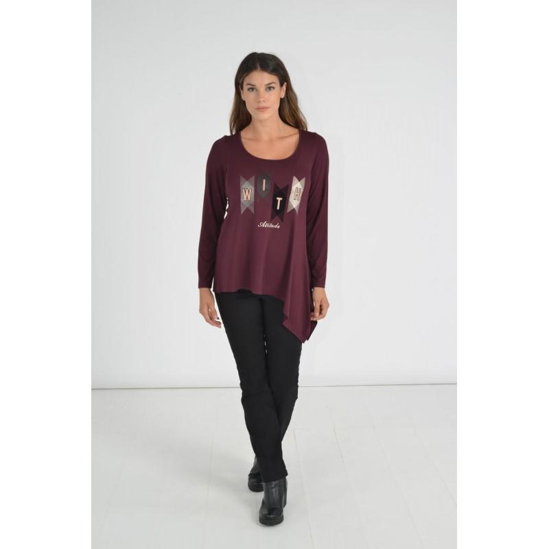 Μοντερνα plus size ρουχα - Μπλουζες xxl - Μπλουζες - Fuego Fashion - Μπλούζα με Στάμπα With  Μπλούζες xxl