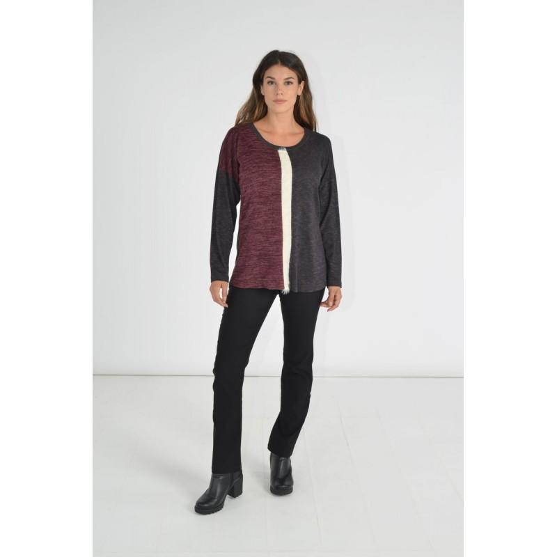 Μοντερνα plus size ρουχα - Μπλουζες xxl - Μπλουζες - Fuego Fashion - Μπλούζα Τρίχρωμη