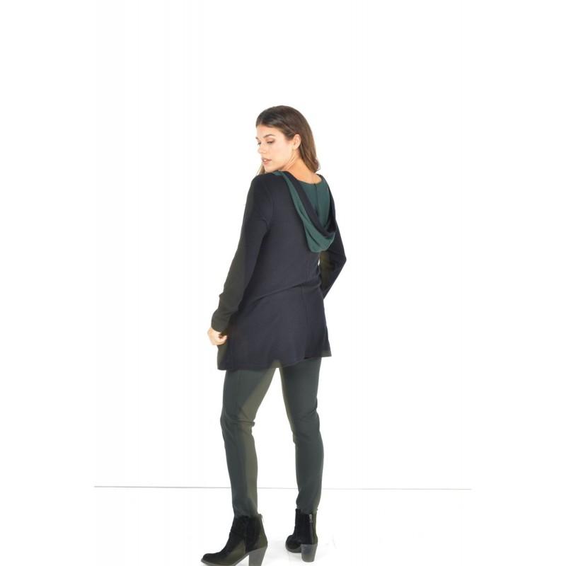 Μοντερνα plus size ρουχα - Μπλουζες xxl - Μπλουζες - Fuego Fashion - Μπλούζα Πλεκτή Δίχρωμη Μπλούζες xxl