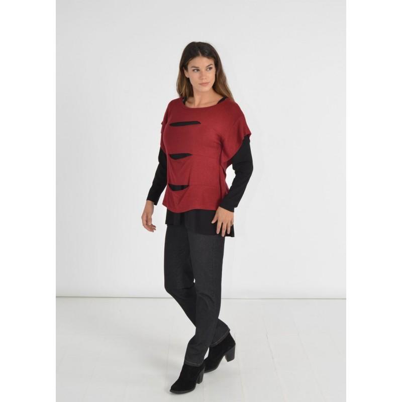 Μοντερνα plus size ρουχα - Μπλουζες xxl - Μπλουζες - Fuego Fashion - Μπλούζα με Κοψίματα  Μπλούζες xxl