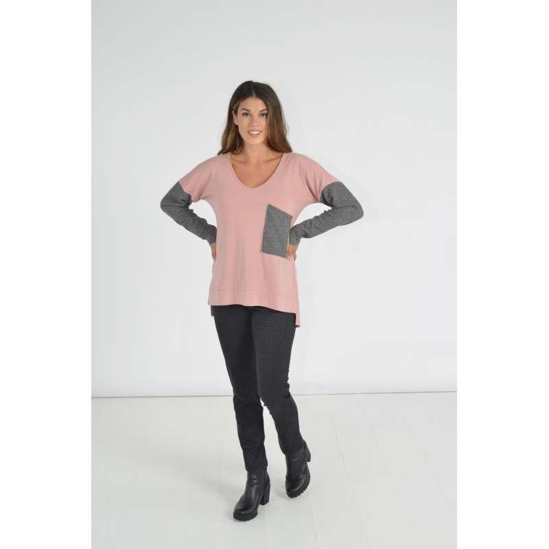 Μοντερνα plus size ρουχα - Μπλουζες xxl - Μπλουζες - Fuego Fashion - Μπλούζα με Rib Μανίκια και Τσέπη Μπλούζες xxl