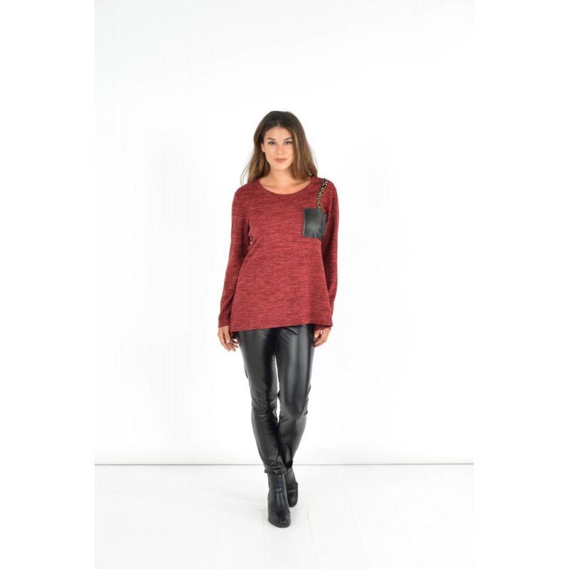 Μπλουζες xxl - Μπλουζες - Fuego Fashion - Μπλούζα με Τρέσα και Τσεπάκι Μπλούζες xxl