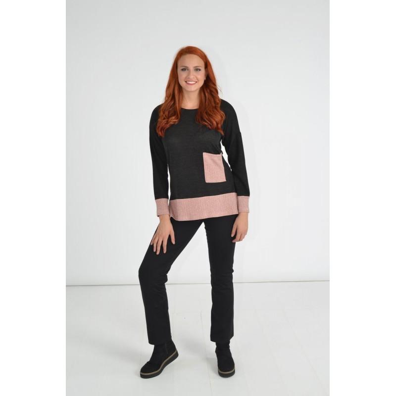 Μοντερνα plus size ρουχα - Μπλουζες xxl - Μπλουζες - Fuego Fashion - Μπλούζα με Rib Λούρεξ Μπλούζες xxl