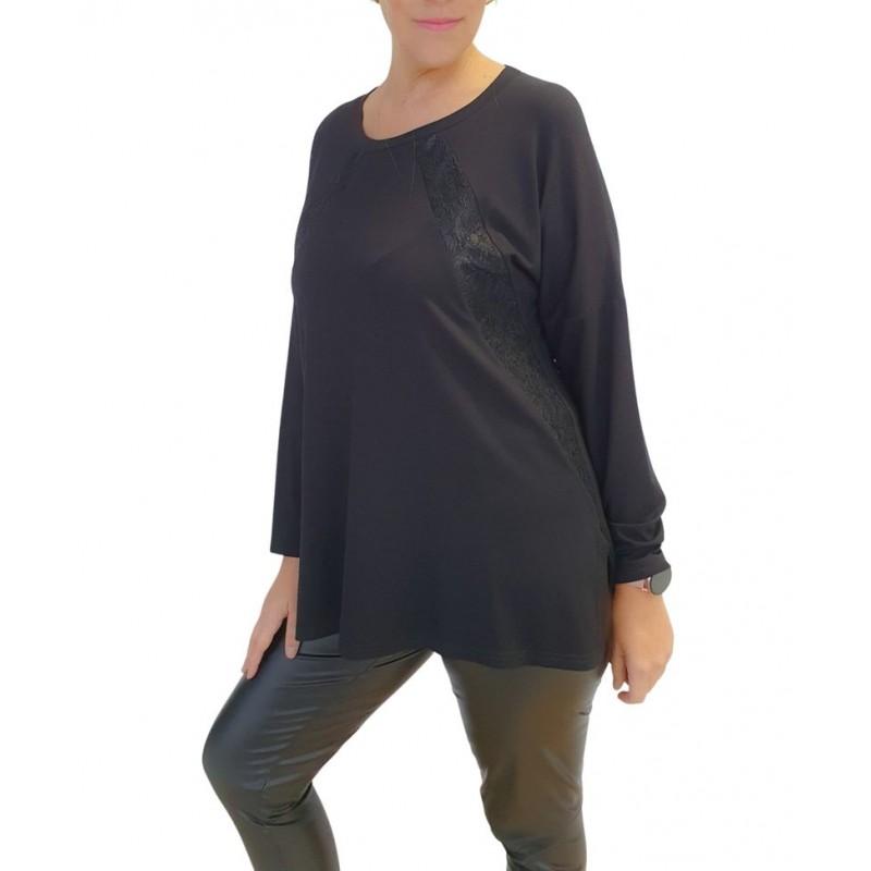 Μοντερνα plus size ρουχα - Μπλουζες xxl - Μπλουζες - Fuego Fashion - Μπλούζα με Φάσσες Δαντέλα Μπλούζες xxl