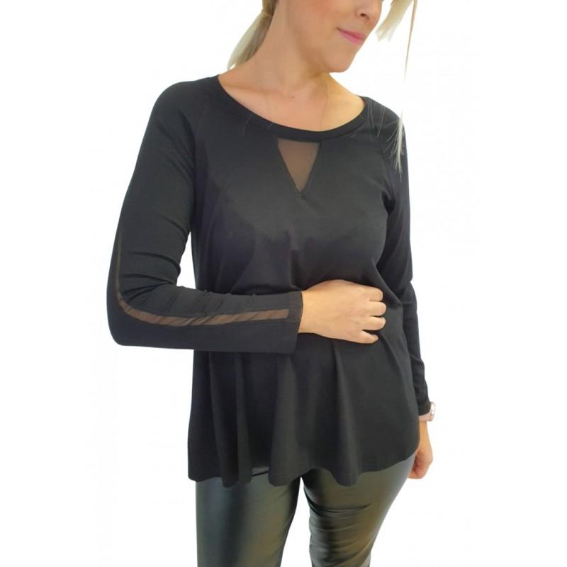 Μοντερνα plus size ρουχα - Μπλουζες xxl - Μπλουζες - Fuego Fashion - Μπλούζα-Φορεμα με Τούλι Μπλούζες xxl