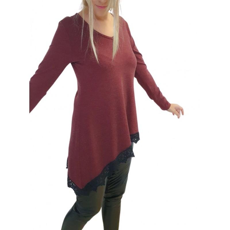 Μοντερνα plus size ρουχα - Μπλουζες xxl - Μπλουζες - Fuego Fashion - Μπλούζα με Ασύμμετρη Δαντέλα Μπλούζες xxl