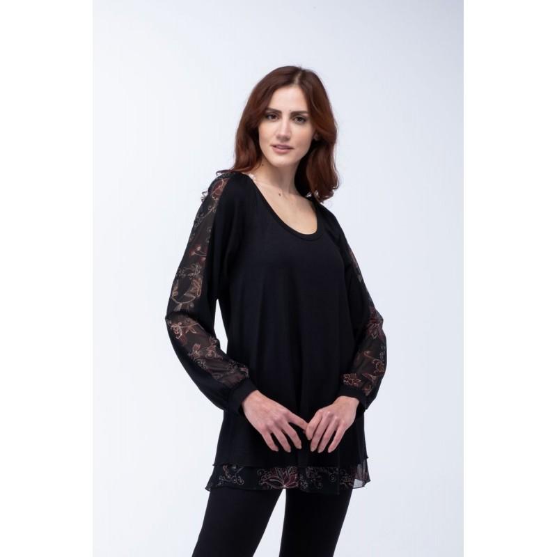 Μοντερνα plus size ρουχα - Μπλουζες xxl - Μπλουζες - Fuego Fashion - Μπλούζα με Μουσελίνα Εμπριμέ Μπλούζες xxl