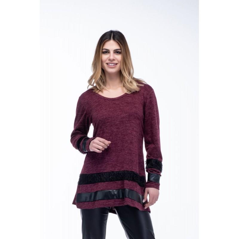 Μοντερνα plus size ρουχα - Μπλουζες xxl - Μπλουζες - Fuego Fashion - Μπλούζα με Φάσες Μπλούζες xxl