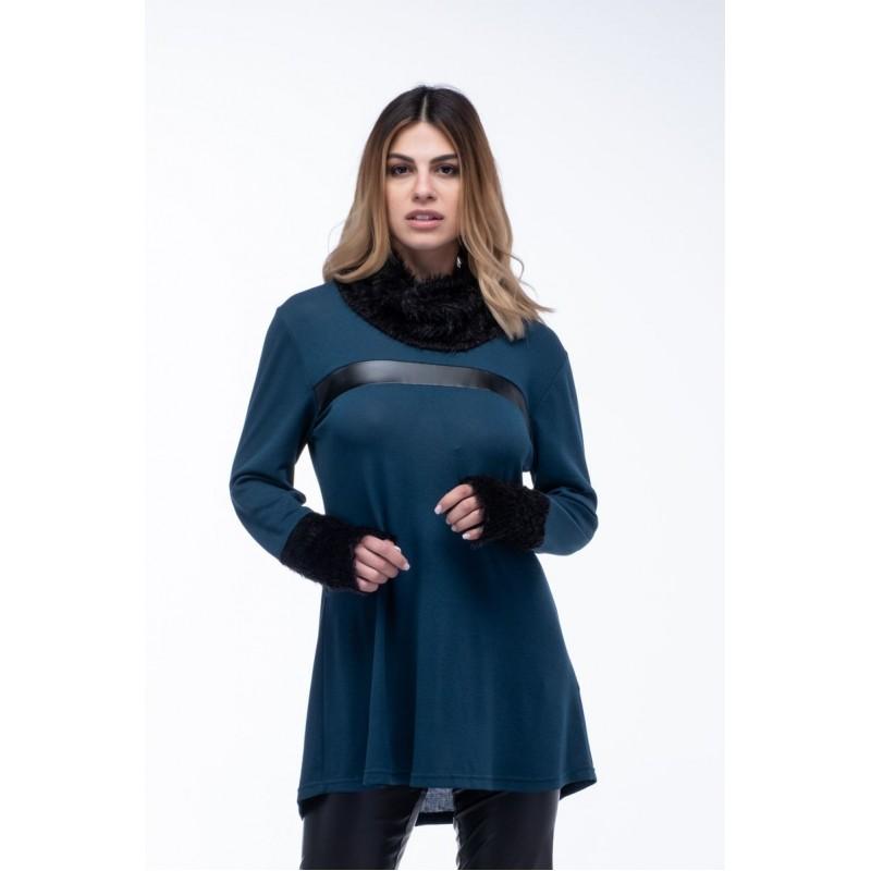 Μοντερνα plus size ρουχα - Μπλουζες xxl - Μπλουζες - Fuego Fashion - Μπλούζα Φόρεμα Ξεχειλωτό Μπλούζες xxl