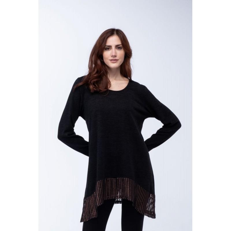 Μοντερνα plus size ρουχα - Μπλουζες xxl - Μπλουζες - Fuego Fashion - Μπλούζα Λούρεξ Τελειώματα Μπλούζες xxl