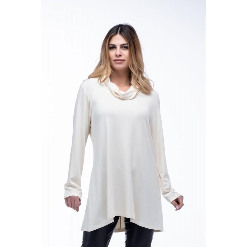 Μπλούζα Φόρεμα Ξχειλωτό με Γιακά Μπλούζες xxl