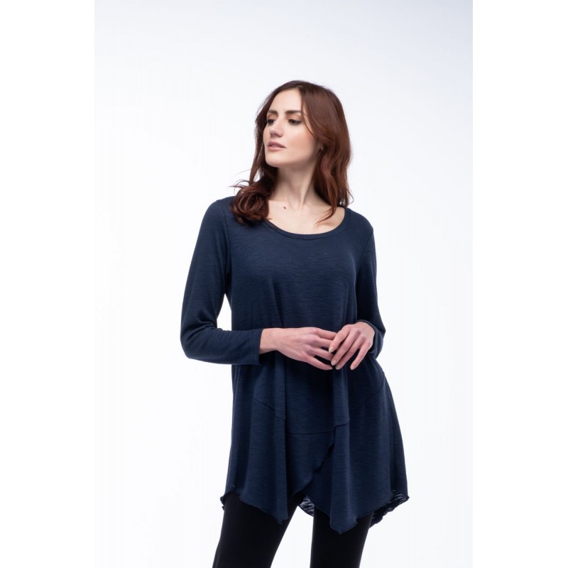 Μοντερνα plus size ρουχα - Μπλουζες xxl - Μπλουζες - Fuego Fashion - Μπλούζα Πλεκτή Ασύμμετρη Μπλούζες xxl