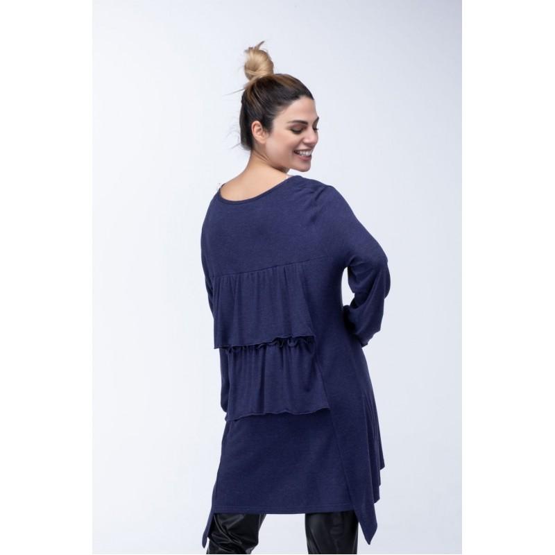 Μοντερνα plus size ρουχα - Μπλουζες xxl - Μπλουζες - Fuego Fashion - Μπλούζα με Βολάν στην Πλάτη Μπλούζες xxl