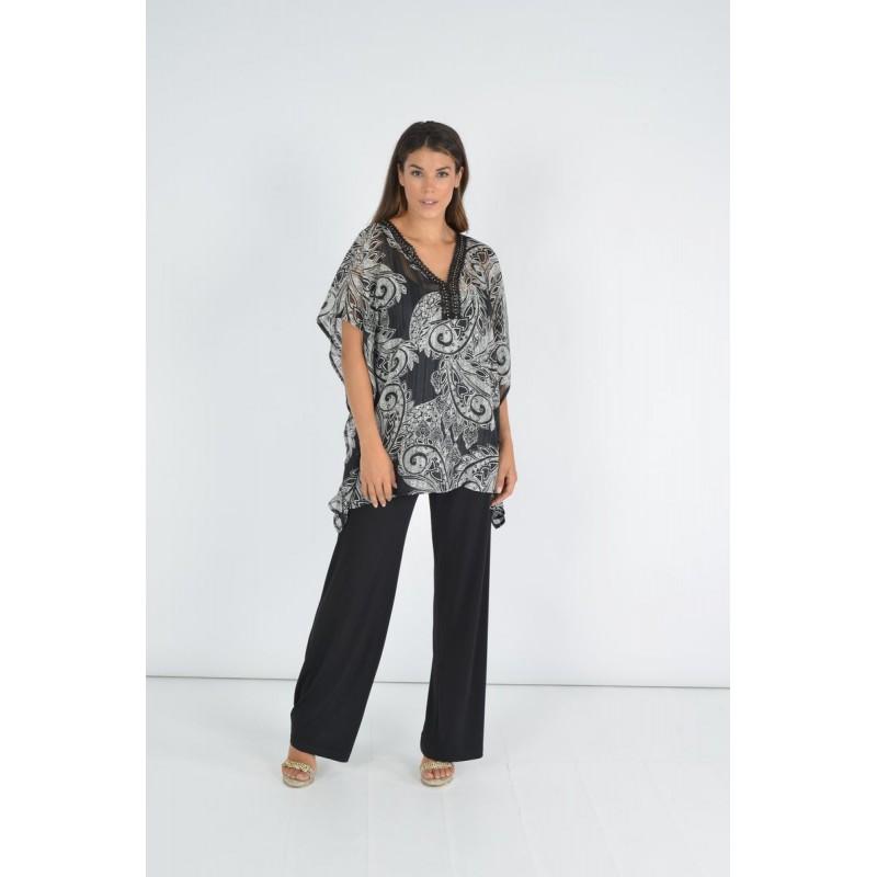 Μοντερνα plus size ρουχα - Fuego Fashion - Παντελόνα Διπλή Ζορζέτα Μεγάλα Μεγέθη