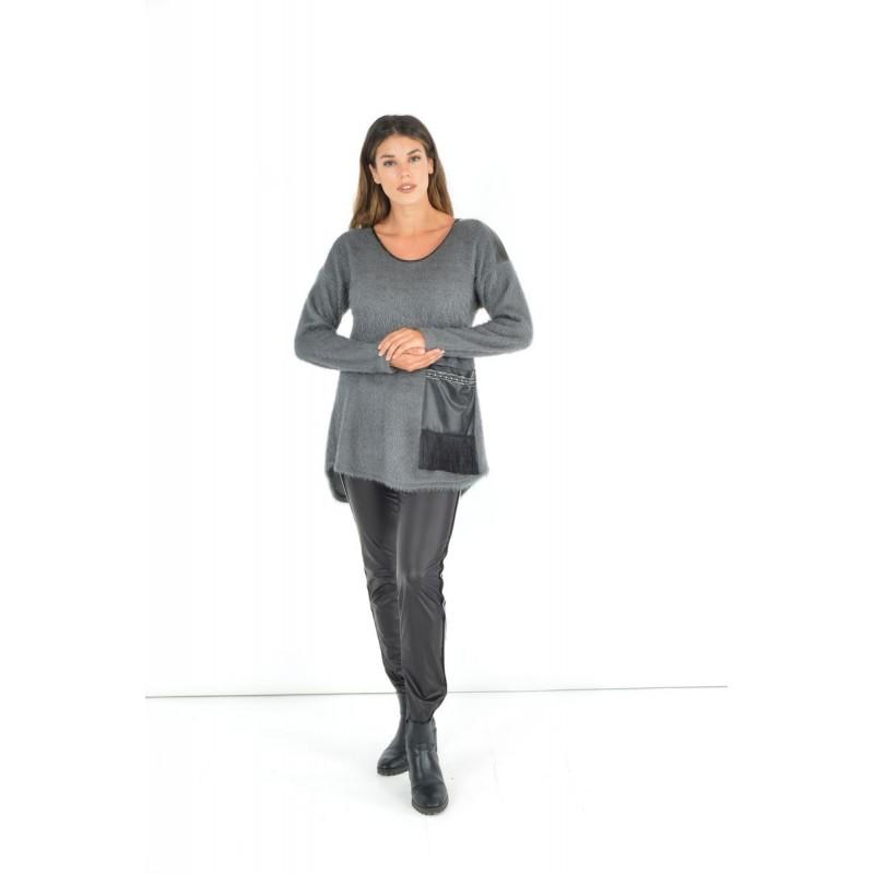 Fuego Fashion - Κολάν Δερματίνη με Τρέσα και Λούρεξ Κολάν xxl