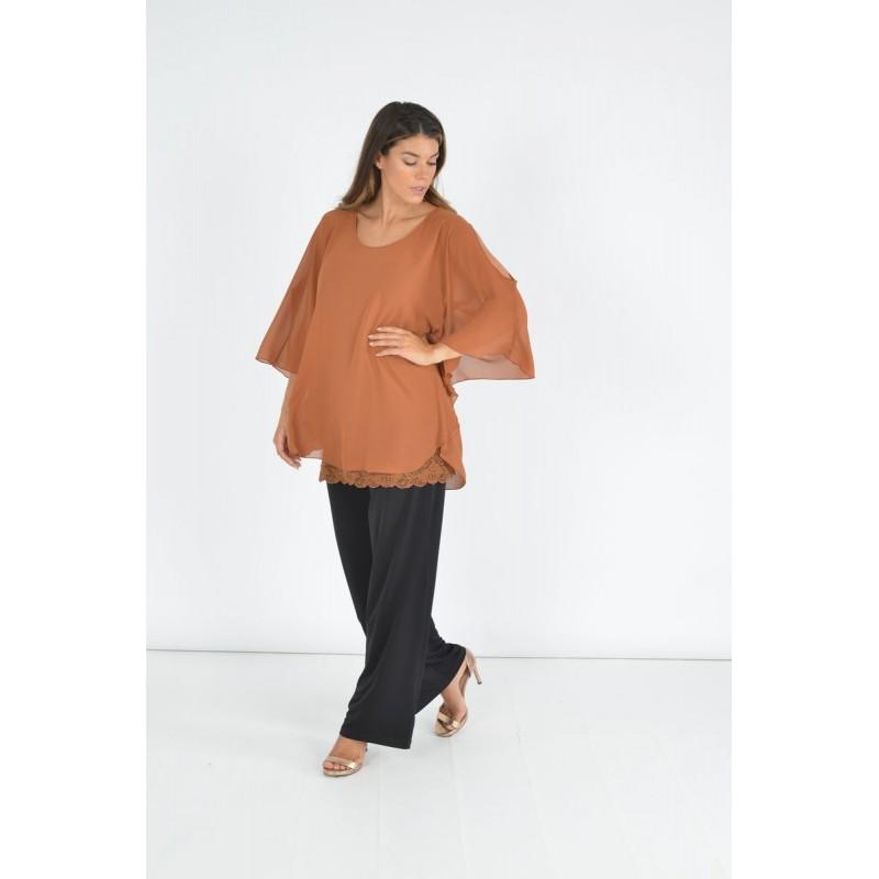 Fuego Fashion - Πουκαμίσα με Δαντέλα στο Τελείωμα Πουκαμίσα - Πουκάμισα xxl