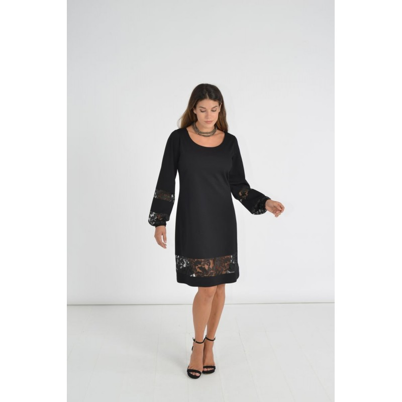 Οικονομικα Βραδινα Φορεματα - Φορεματα xxl - Φορεματα Φορεματα - Fuego Fashion - Φόρεμα με Φάσες Δαντέλα  Φορέματα xxl
