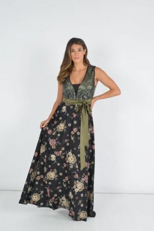 Φόρεμα Εμπριμέ με Παγιέτα